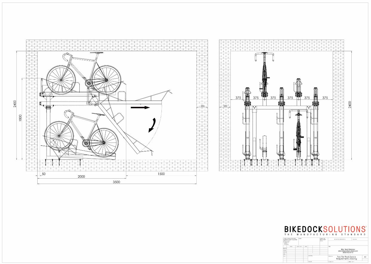 web_two_tier_rack_space_requirements_drawing two tier bike rack with gas strut (bds)